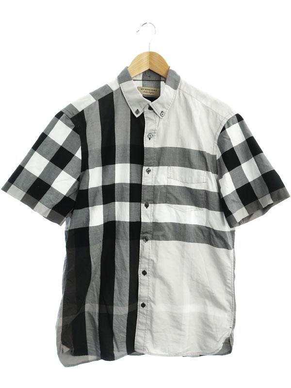【BURBERRY】【トップス】バーバリー『チェック柄 半袖ボタンダウンシャツ sizeL G』THTHAGAR129SAM メンズ 1週間保証【中古】b01f/h17AB