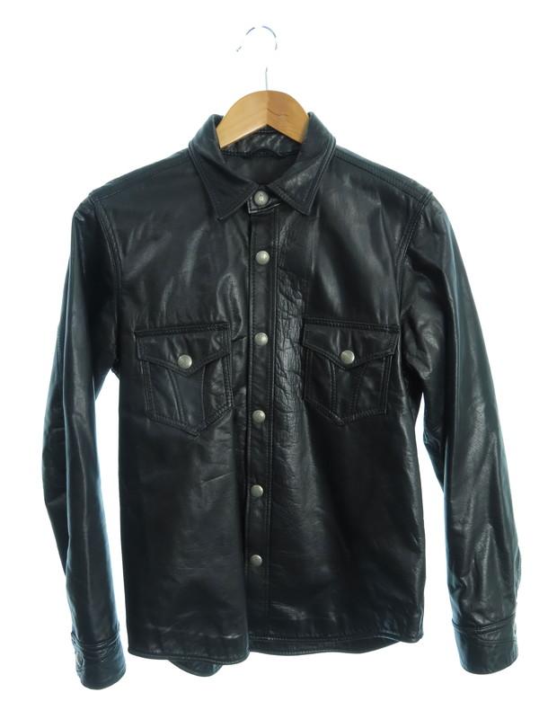 【RUDEGALLERY BLACKREBEL】【日本製】【アウター】ルードギャラリーブラックレーベル『レザーシャツジャケット sizeS』メンズ 1週間保証【中古】b03f/h15AB
