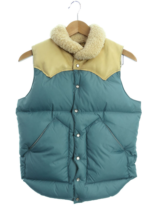 【Rocky Mountain Featherbed】【クリスティーベスト】ロッキーマウンテンフェザーベッド『レザー切替ダウンベスト size36』450-442-02 メンズ【中古】b01f/h16AB