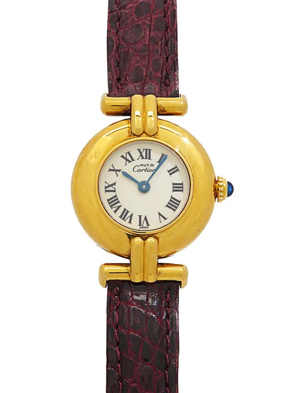 【Cartier】【電池交換済】カルティエ『マストコリゼ ヴェルメイユ』レディース クォーツ 1ヶ月保証【中古】b01w/h02AB