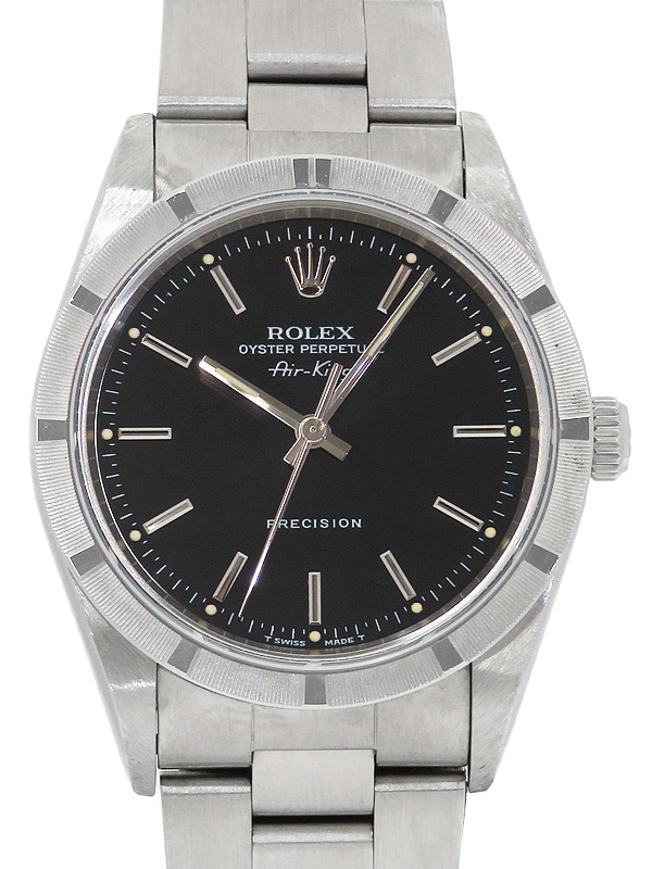 【ROLEX】【エンジンターンドベゼル】【内部点検・仕上済】ロレックス『エアキング』14010 T番'96年頃製 メンズ 自動巻き 12ヶ月保証【中古】b05w/h10AB
