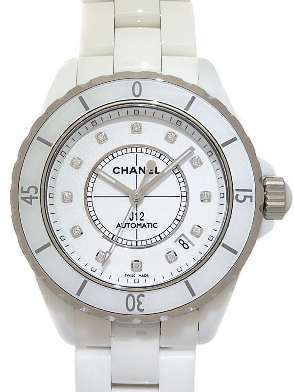 【CHANEL】【仕上済】シャネル『J12 ホワイトセラミック 12Pダイヤ』H1629 メンズ 自動巻き 3ヶ月保証【中古】b05w/h15AB