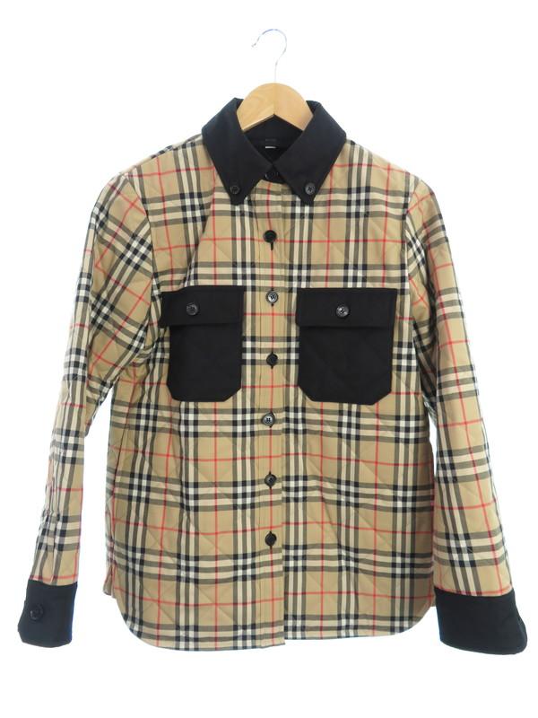 【BURBERRY】【Embroidered Wool Jacket】【アウター】バーバリー『チェック柄中綿ジャケット sizeS P』8020383 レディース 1週間保証【中古】b01f/h07AB