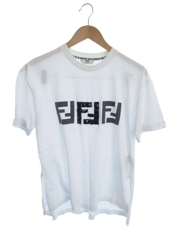 【FENDI】【ビジュー付】【イタリア製】【トップス】フェンディ『半袖Tシャツ sizeXS』FS7011 A43A レディース カットソー 1週間保証【中古】b05f/h12B