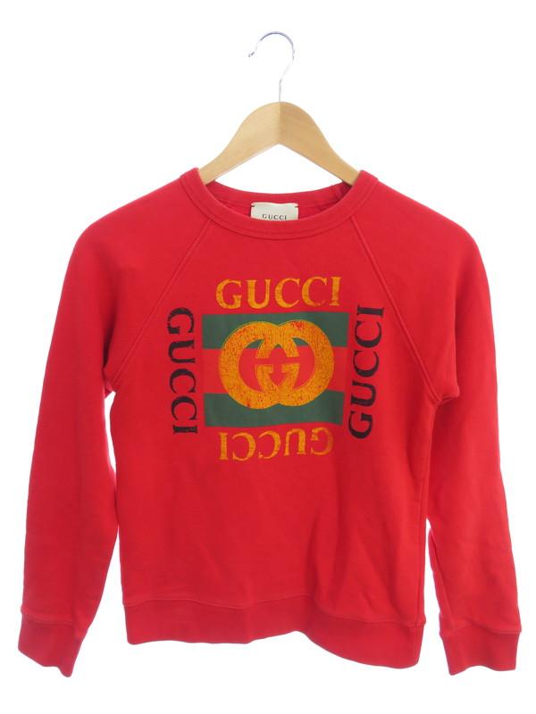 至高 GUCCI ロゴスウェットシャツ チルドレンズ イタリア製 直送商品 グッチ 長袖スウェット size10 1週間保証 レディース X3G97 483878 中古 セーター