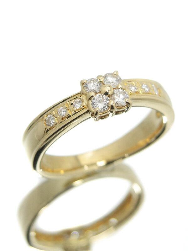 セレクトジュエリー『K18YGリング ダイヤモンド0.24ct フラワーモチーフ』11.5号 1週間保証【中古】b01j/h17A