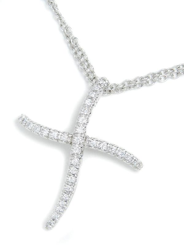 【DAMIANI】【2連チェーン】ダミアーニ『K18WGネックレス ダイヤモンド クロスモチーフ』1週間保証【中古】b03j/h11A