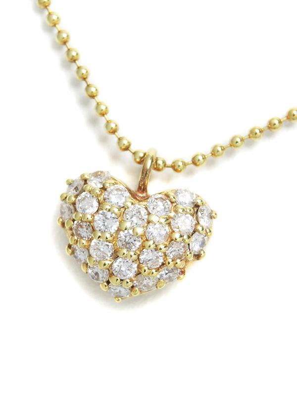 【パヴェダイヤ】セレクトジュエリー『K18YGネックレス ダイヤモンド0.37ct ハートモチーフ』1週間保証【中古】b01j/h22A