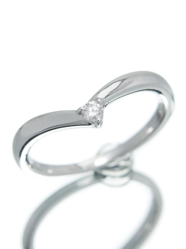【4℃】【V字】ヨンドシー『K18WGリング 1Pダイヤモンド』10号 1週間保証【中古】b02j/h03A
