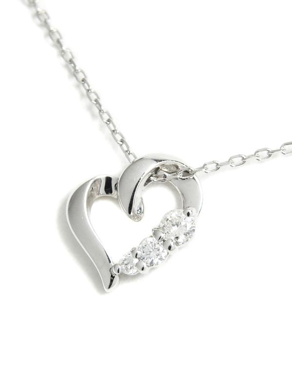 【4℃】ヨンドシー『K18WGネックレス ダイヤモンド ハートモチーフ』1週間保証【中古】b01j/h08A