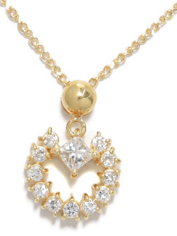 セレクトジュエリー『K18YGネックレス ダイヤモンド0.20ct 0.22ct』1週間保証【中古】b02j/h09AB