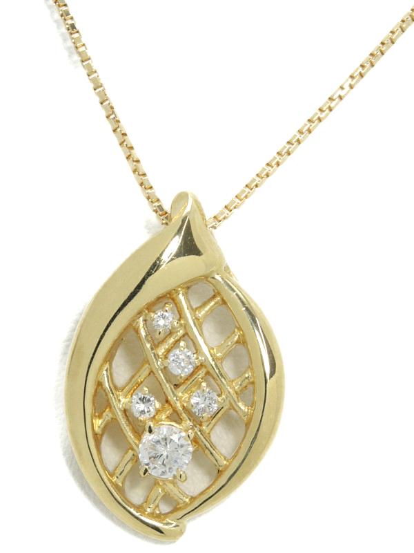 セレクトジュエリー『K18YGネックレス ダイヤモンド0.13ct 0.28ct』1週間保証【中古】b01j/h08A