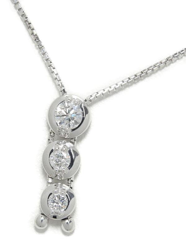 【TASAKI】タサキ『K18WGネックレス 3Pダイヤモンド0.35ct』1週間保証【中古】b06j/h17A