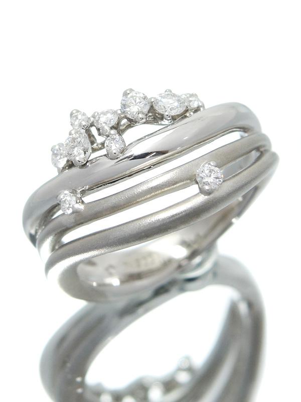 【星の砂】ホシノスナ『PT900リング ダイヤモンド0.27ct』10号 1週間保証【中古】b02j/h03A