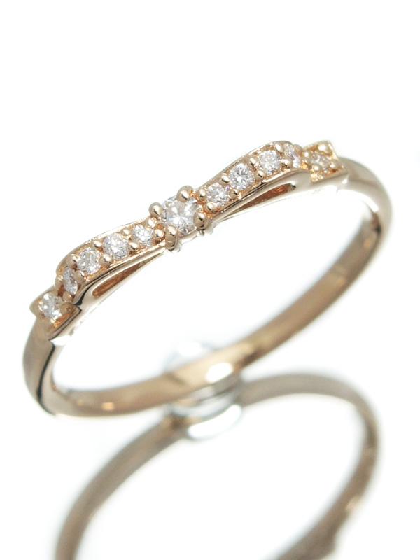 セレクトジュエリー『K18PGリング ダイヤモンド0.09ct リボンモチーフ』9.5号 1週間保証【中古】b01j/h08A