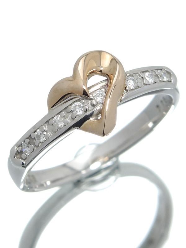 【StarJewelry】【仕上済】スタージュエリー『K18PG/K18WGリング ダイヤモンド0.06ct ハートモチーフ』8号 1週間保証【中古】b01j/h08SA