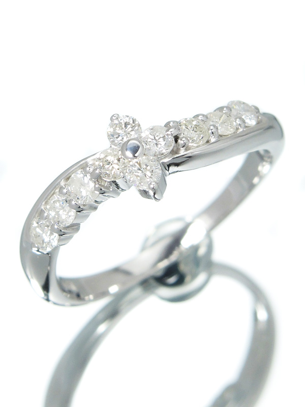 【仕上済】セレクトジュエリー『K18WGリング ダイヤモンド0.50ct フラワーモチーフ』13号 1週間保証【中古】b01j/h02SA
