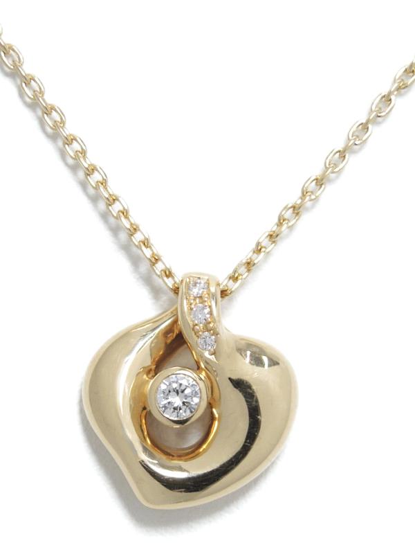【POLA】【仕上済】ポーラ『K18YGネックレス ダイヤモンド0.13ct』1週間保証【中古】b06j/h17SA