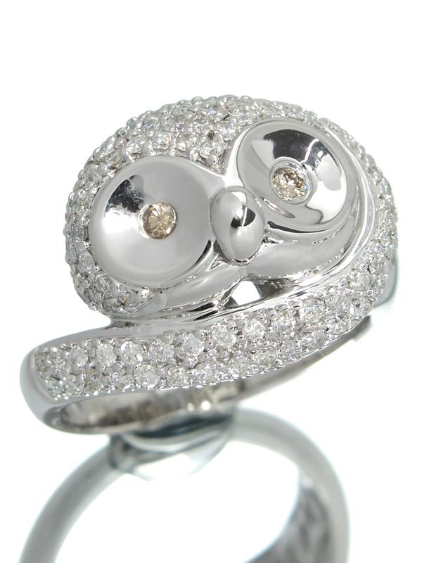 【仕上済】【梟】セレクトジュエリー『K18WGリング ダイヤモンド0.05ct 0.77ct フクロウデザイン』12号 1週間保証【中古】b03j/h16SA