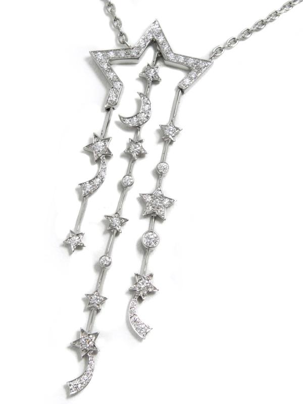 【CHANEL】【仕上済】【星&三日月】シャネル『コメットコレクション ダイヤ ネックレス』1週間保証【中古】b01j/h02SA