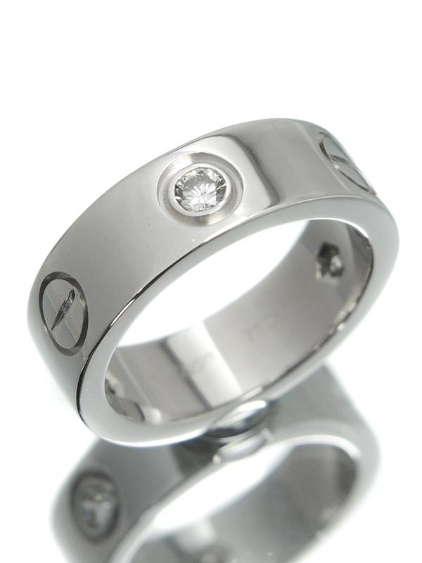 【Cartier】【仕上済】カルティエ『ラブリング ハーフ ダイヤ』7号 1週間保証【中古】b03j/h14SA
