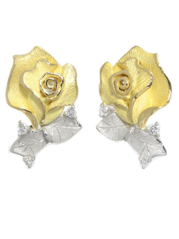 【田村俊一】【Shun】【クリップ式】【薔薇】タムラシュンイチ『K18YG/PT900イヤリング ダイヤモンド0.10ct 0.10ct ローズモチーフ』1週間保証【中古】b03j/h20SA