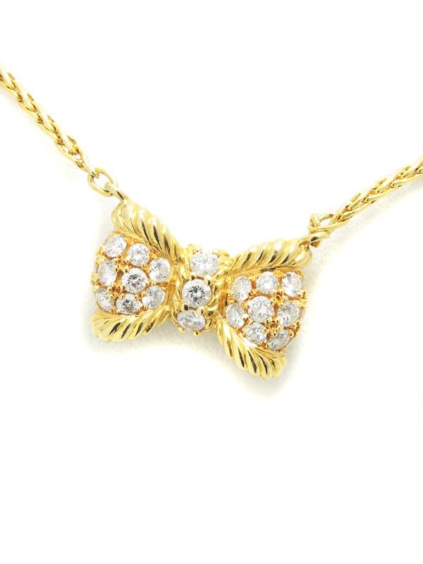 【星の砂】ホシノスナ『K18YGネックレス ダイヤモンド0.61ct リボンモチーフ』1週間保証【中古】b03j/h20A