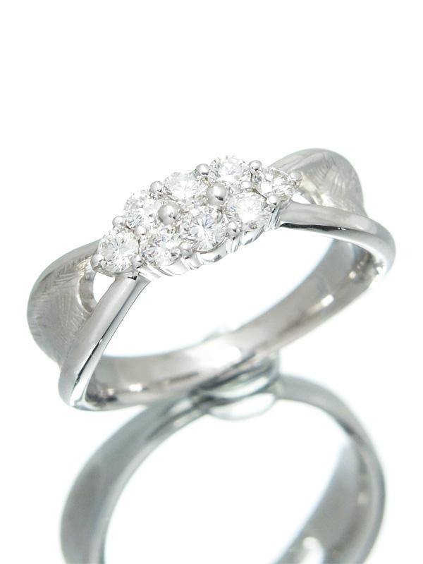 【仕上済】セレクトジュエリー『K18WGリング ダイヤモンド0.51ct』14.5号 1週間保証【中古】b03j/h07SA