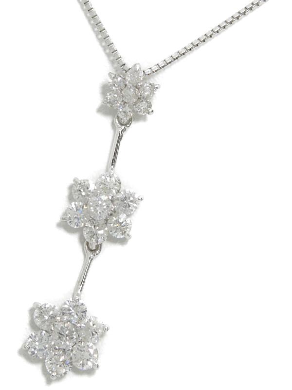 セレクトジュエリー『K18WGネックレス ダイヤモンド1.00ct フラワーモチーフ』1週間保証【中古】b02j/h03A
