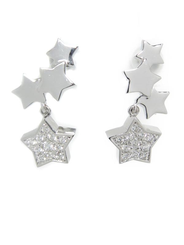 【ネジ式】【星】セレクトジュエリー『K18WGイヤリング ダイヤモンド0.12ct 0.12ct スターモチーフ』1週間保証【中古】b01j/h08A
