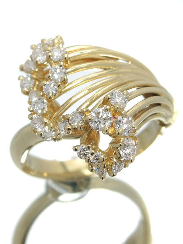 【QUEEN】【仕上済】クイーン『K18YGリング ダイヤモンド』12号 1週間保証【中古】b06j/h17SA