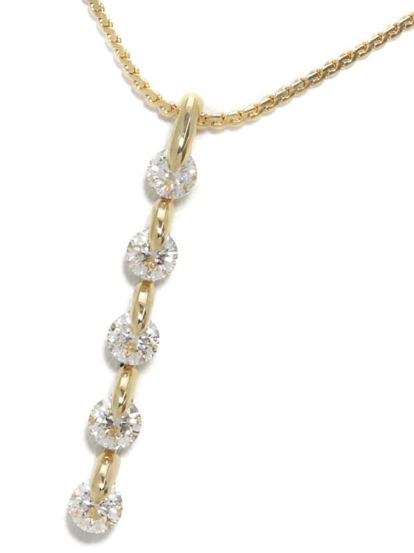 セレクトジュエリー『K18YGネックレス ダイヤモンド1.045ct』1週間保証【中古】b01j/h08A