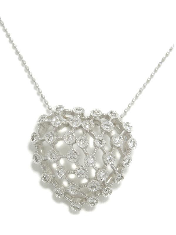 セレクトジュエリー『K18WGネックレス ダイヤモンド0.30ct ハートモチーフ』1週間保証【中古】b01j/h10A