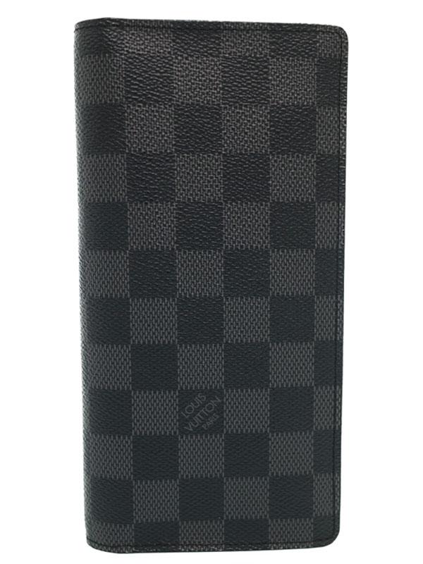 【LOUIS VUITTON】ルイヴィトン『ダミエ グラフィット ポルトフォイユ ブラザ』N62665 メンズ 二つ折り長財布 1週間保証【中古】b06b/h16A