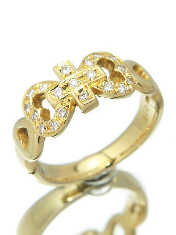 セレクトジュエリー『K18YGリング ダイヤモンド0.16ct クロス&ハートモチーフ』10号 1週間保証【中古】b01j/h02A