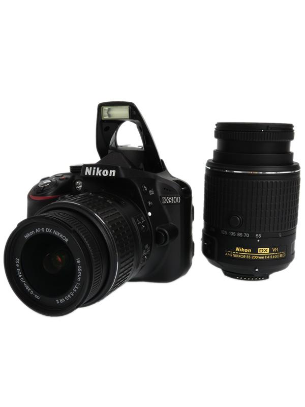【Nikon】ニコン『D3300ダブルズームキット2』D3300WZBK2 ブラック 2416万画素 DXフォーマット デジタル一眼レフカメラ【中古】b03e/h11A