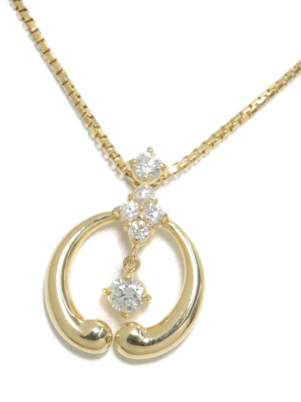 【星の砂】ホシノスナ『K18YGネックレス ダイヤモンド0.37ct』1週間保証【中古】b03j/h20A