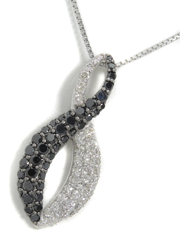 セレクトジュエリー『K18WGネックレス ブラックダイヤモンド ダイヤ』1週間保証【中古】b06j/h17A