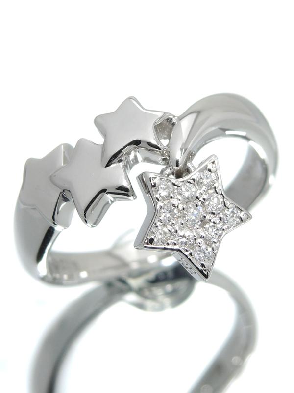 【仕上済】セレクトジュエリー『K18WGリング ダイヤモンド0.12ct スターデザイン』13号 1週間保証【中古】b01j/h08SA
