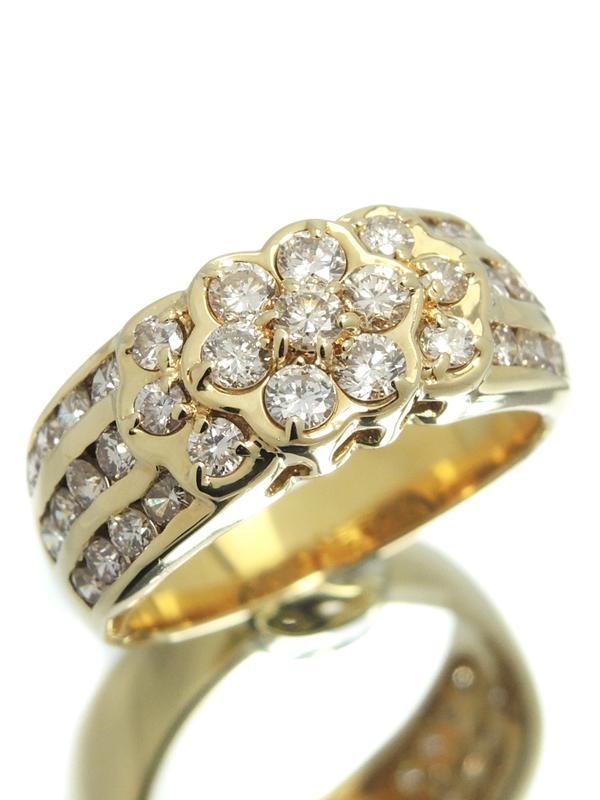 セレクトジュエリー『K18YGリング ダイヤモンド1.28ct フラワーモチーフ』12号 1週間保証【中古】b01j/h02A