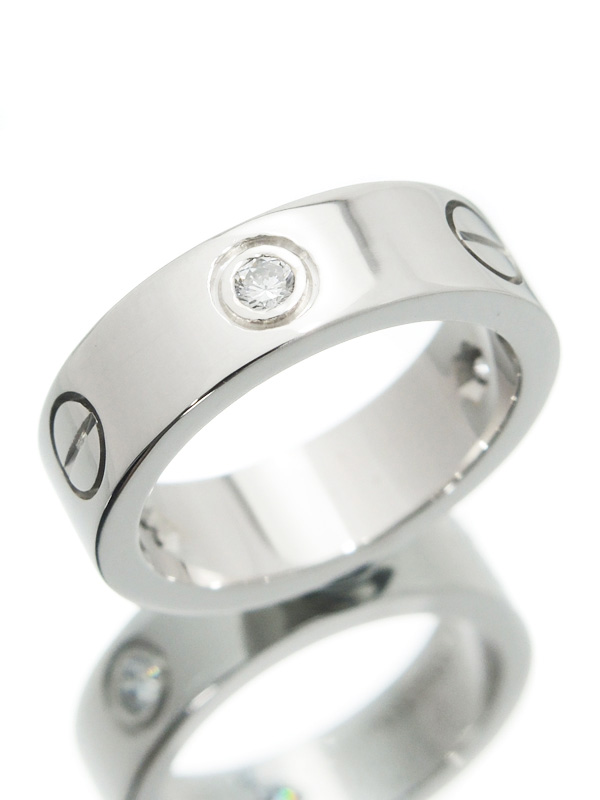 【Cartier】【仕上済】カルティエ『ラブリング ハーフ ダイヤ』9.5号 1週間保証【中古】b03j/h07SA