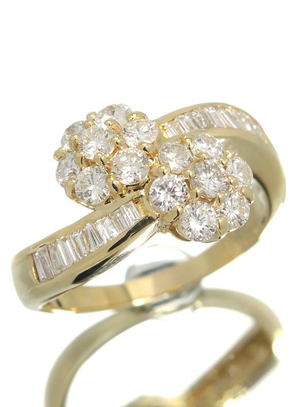 【仕上済】セレクトジュエリー『K18YGリング ダイヤモンド0.94ct 0.27ct フラワーモチーフ』13号 1週間保証【中古】b01j/h08SA