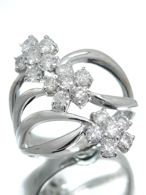 セレクトジュエリー『K18WGリング ダイヤモンド1.20ct フラワーモチーフ』11.5号 1週間保証【中古】b06j/h18A