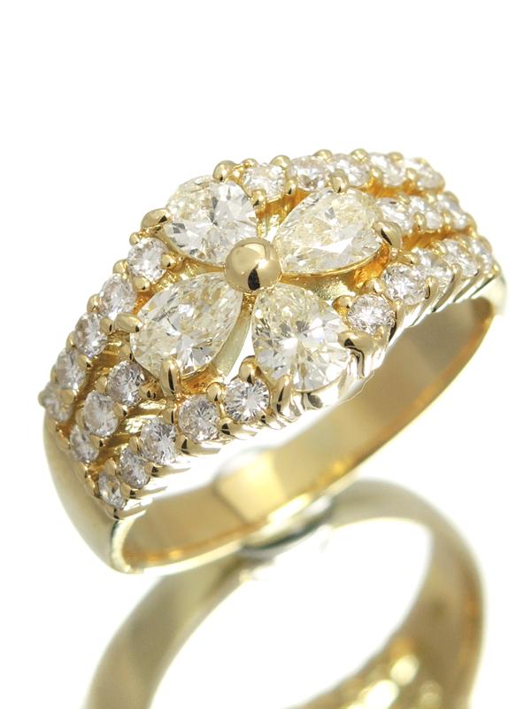 【仕上済】セレクトジュエリー『K18YGリング ダイヤモンド0.87ct 0.55ct』13号 1週間保証【中古】b01j/h02SA