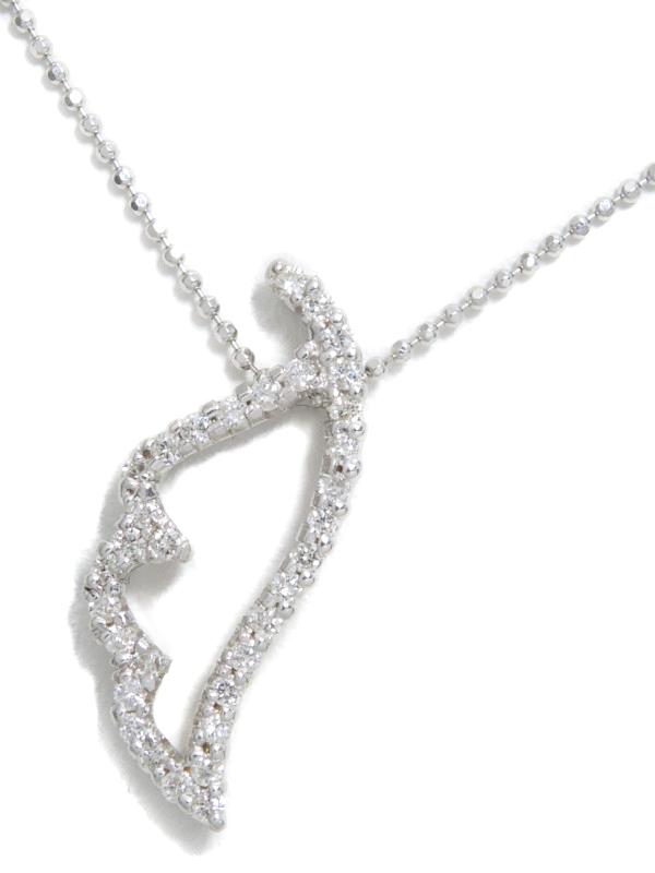 セレクトジュエリー『K18WGネックレス ダイヤモンド0.37ct 羽根モチーフ』1週間保証【中古】b01j/h21A