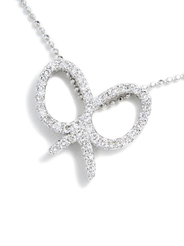 セレクトジュエリー『K18WGネックレス ダイヤモンド0.45ct リボンモチーフ』1週間保証【中古】b01j/h21A