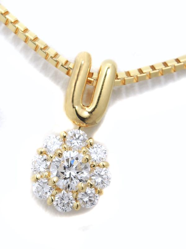 【星の砂】ホシノスナ『K18YGネックレス ダイヤモンド0.40ct フラワーモチーフ』1週間保証【中古】b02j/h19A
