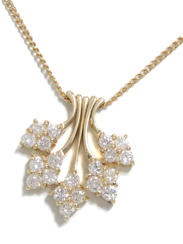 セレクトジュエリー『K18YGネックレス ダイヤモンド1.00ct フラワーモチーフ』1週間保証【中古】b01j/h06A