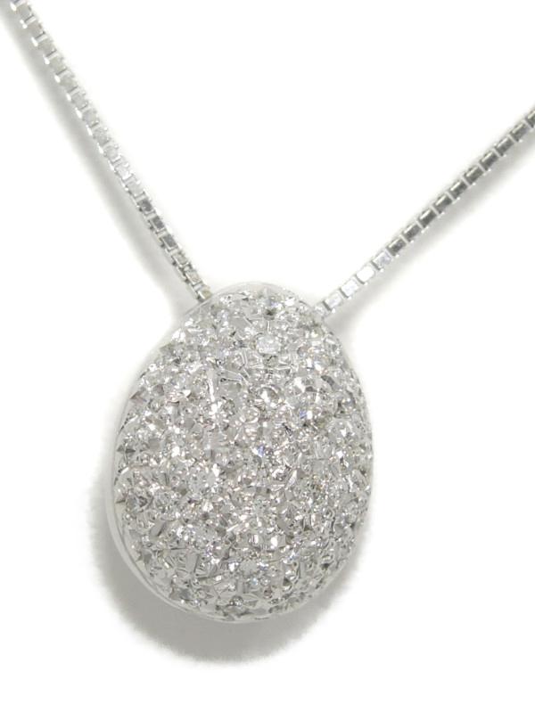 【TASAKI】【卵型】【パヴェダイヤ】タサキ『K18WGネックレス ダイヤモンド0.37ct』1週間保証【中古】b01j/h02A