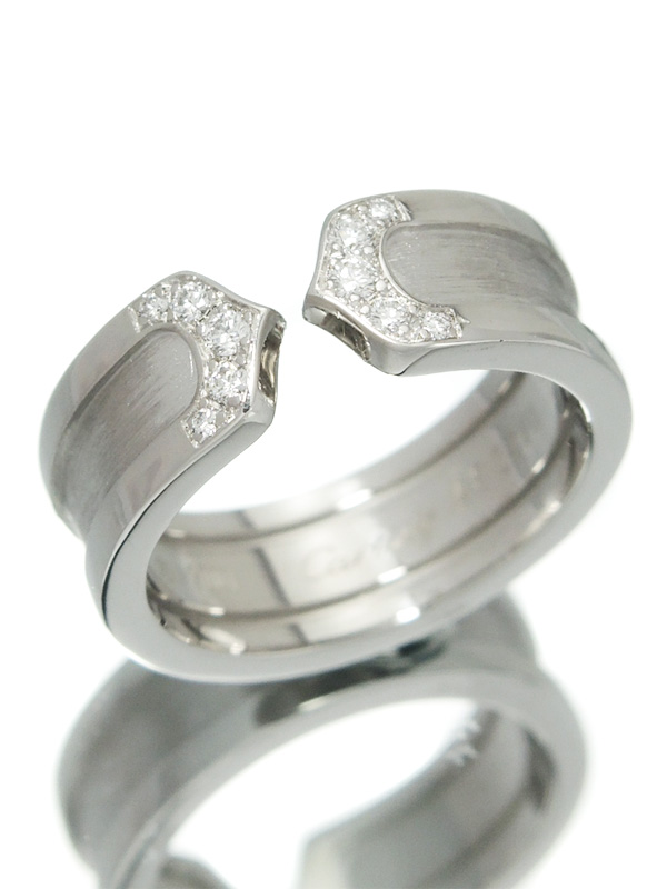 【Cartier】【仕上済】カルティエ『ロゴ ドゥーブルC C2リング 10Pダイヤモンド』9号 1週間保証【中古】b03j/h11SA